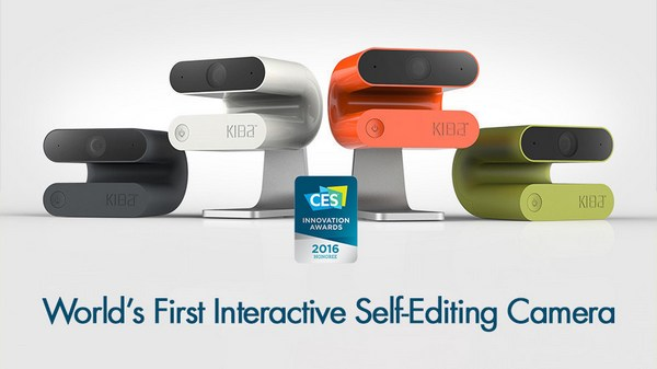"Kiba is world's first interactive self‐editing video camera. Winner of two CES 2016 Innovation awards, Kiba allows users to enjoy their best moments with friends and family. It uses intelligent, patented ""joy ranking"" technology to capture and curate footage, providing users with beautifully edited, easily shareable video clips. Kiba responds to voice commands like ""Kiba, selfie,"" ""Kiba, record,"" or ""Kiba, remember.""  Go to http://getkiba.com to learn more or order now! (PRNewsFoto/Kiba)"